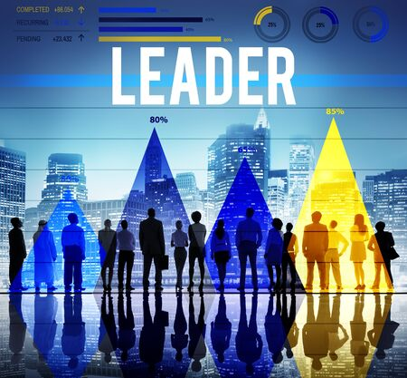 office workers: Leader Leadership Authority Chief Coach Concept