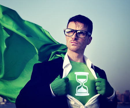 conservation: Strong Superhero Businessman Hourglass Concepts Stock Photo