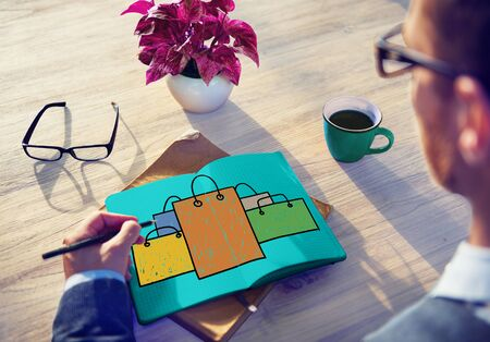 shopaholic: Shopping Bag Sale Capitalism Shopaholic Concept
