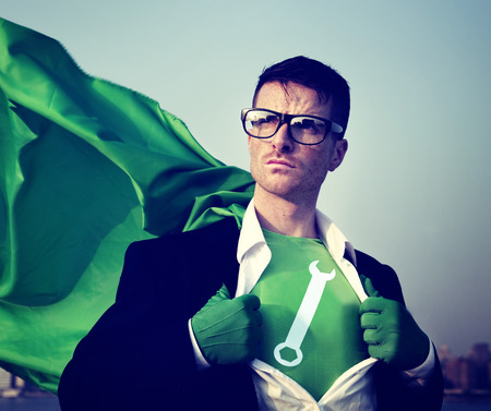 empowerment: Wrench Strong Superhero Success Professional Empowerment Stock Concept Stock Photo