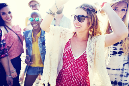 beach party: Teenagers Friends Beach Party Happiness Concept Stock Photo