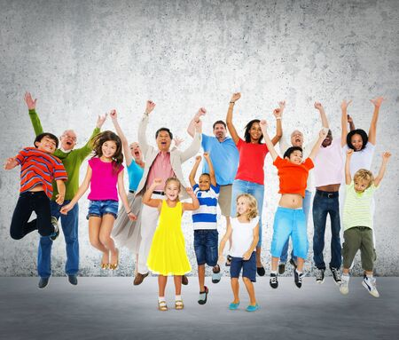 ecstatic: Children Celebration Jumping Ecstatic Happiness Concept Stock Photo