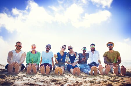 beach party: Friends Beach Vacation Party Chilling Concept