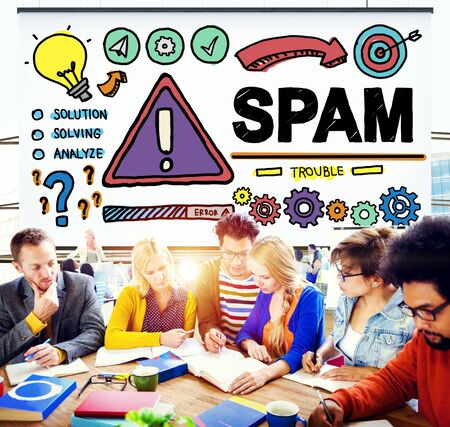 malware: Spam Problem Virus Online Malware Hacking Concept Stock Photo