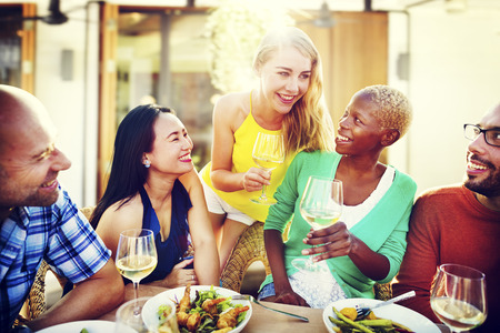 diversity people: Diverse People Luncheon Outdoors Food Concept