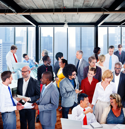 Mensen Global Communication Office Discussion Conversation Group Concept Stockfoto