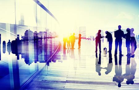 corporate buildings: Business People Talking Connection Conversation Concept