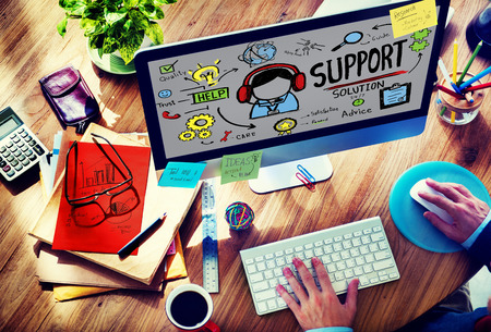 service desk: Support Solution Advice Help Quality Care Team Concept Stock Photo