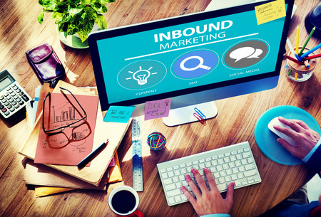 computer monitor: Inbound Marketing Strategy Advertisement Commercial Branding Concept Stock Photo