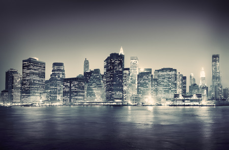 night spot: City Scape New York Buildings Travel Concept