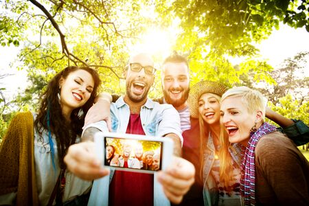 group picture: Friendship Togetherness Selfies Summer Happiness Concept