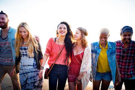 amicizia: Amicizia Legame affettivo Rilassamento Summer Beach Felicità Concetto