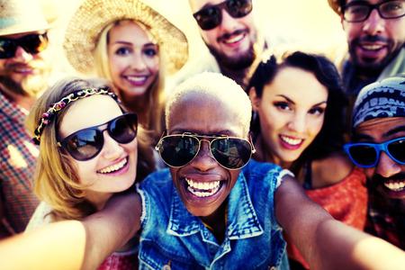 group picture: Diverse People Beach Summer Friends Fun Selfie Concept
