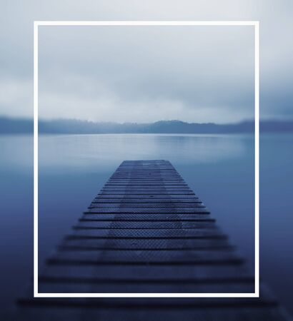 Tranquil Peaceful Lake Jetty Nature Concept Stock Photo