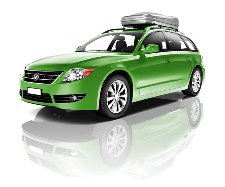 Three Dimensional Image of a Green Car