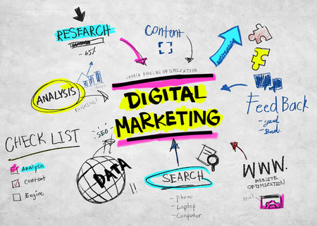 concept and ideas: Digital Marketing Branding Strategy Online Media Concept Stock Photo