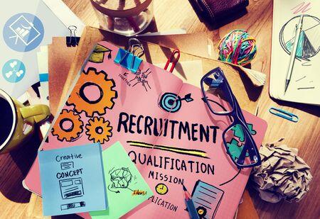 entrevista de trabajo: Reclutamiento Calificación Misión Solicitud de Empleo Concepto Contratación Foto de archivo