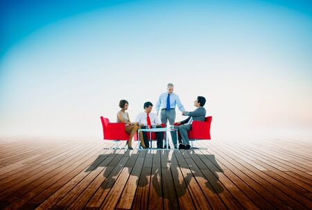 business meeting: Business Team Discussion Meeting Outdoors Concept Stock Photo