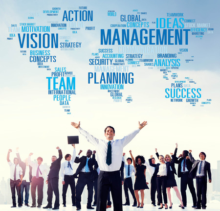 corporate group: Management Vision Action Planning Success Team Business Concept