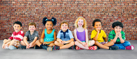 diverse: Children Kids Cheerful Diversity Happiness Group Concept