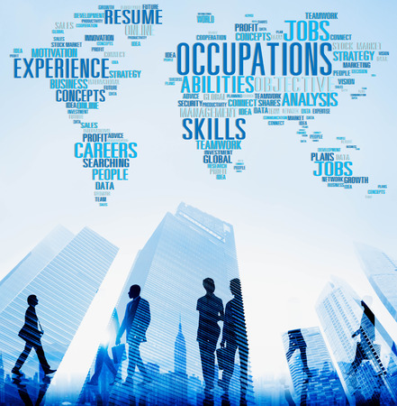 global city: Occupations Careers Community Experience Global Concept Stock Photo