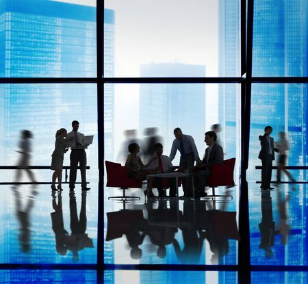 teamwork people: Silhouette Group of Business People Meeting Concept Stock Photo
