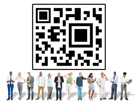 People with QR code concept