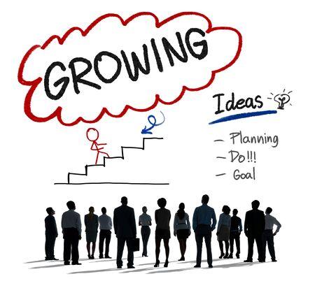 crecimiento personal: Proceso de Crecimiento Planificación Mejora Concepto Desarrollo Foto de archivo