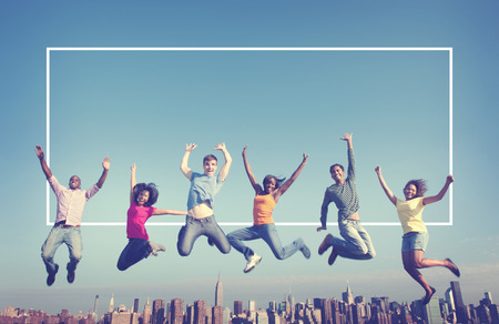 youth culture: Cheerful People Jumping Friendship Happiness City Concept