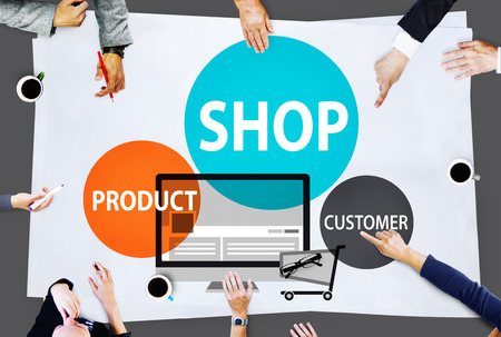 buying: Shop Product Customer Buying Commercial Consumer Concept Stock Photo