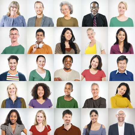 asian ethnicity: People Faces Portrait Multiethnic Cheerful Group Concept Stock Photo
