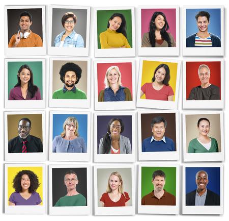 comunidad: Diversidad Faces humano Retrato Cara Comunidad Concept Foto de archivo