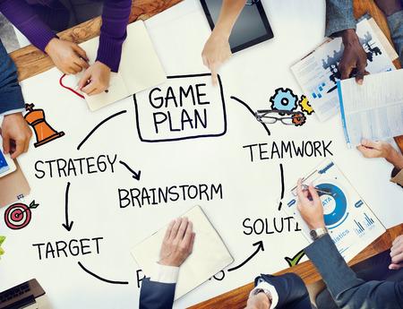 jeu: Jeu plan strat�gie de planification tactique Concept cible Banque d'images
