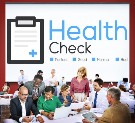 reuniones empresariales: Health Check Seguros Check Up Check List concepto médico Foto de archivo
