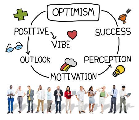 perceptie: Optimisme Positieve Outlook Vibe Perception Vision Concept