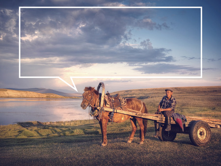 horse cart: Horse man sitting on a horse cart in a scenic view of nature.