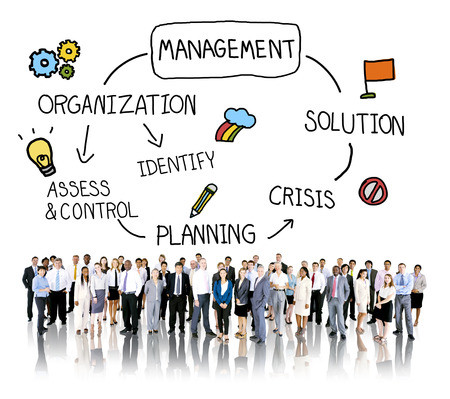 corporate group: Management Solution Planning Organization Authority Concept