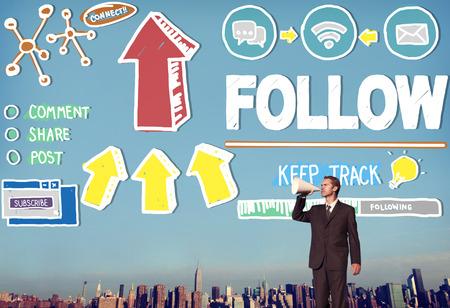 follower: Follow Follower Following Connecting Networking Social Concept Stock Photo