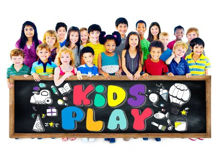 asian children: Kids Play Imagination Hobbies Leisure Games Concept Stock Photo