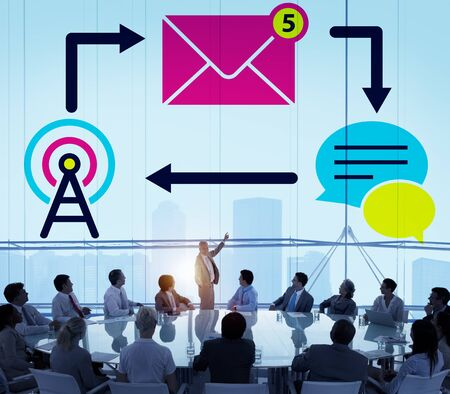 corporate executive: E-mail Instant messaging Internet Envelope Online Concept