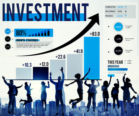 People jumping with investment concept