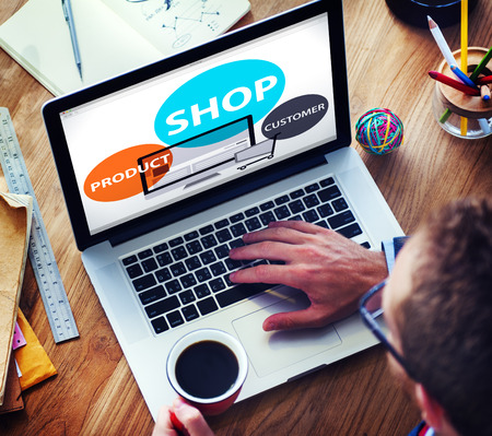 computer monitor: Shop Product Customer Buying Commercial Consumer Concept Stock Photo