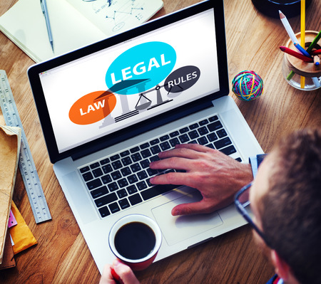 internet online: Legal Law Rules Community Justice Social Gathering Concept Stock Photo