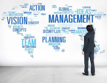 authoritarian: Global Management Training Vision World Map Concept Stock Photo