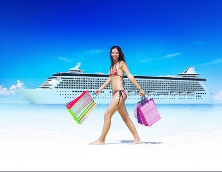 bikini island: Woman Bikini Shopping Bags Beach Summer Concept