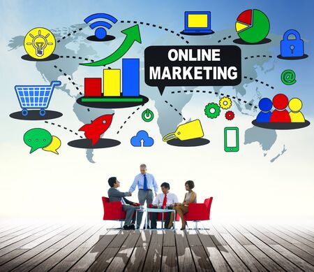 advertisement: Online Marketing Promotion Branding Advertisement Concept Stock Photo