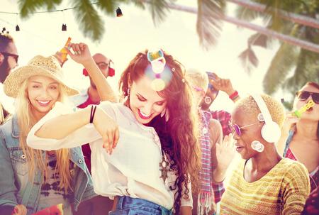 women friendship: Friendship Dancing Bonding Beach Happiness Joyful Concept