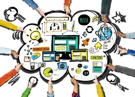 responsive design: Diversity Hands Responsive Design Content Support Volunteer Concept Stock Photo