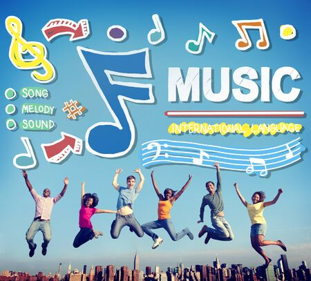 ecstatic: Music Notes Song Entertainment Media Concept