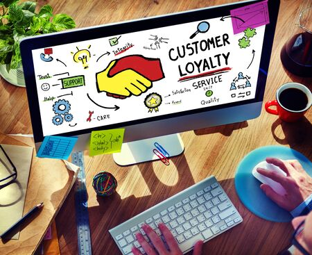 to trust: Customer Loyalty Service Support Care Trust Man Concept